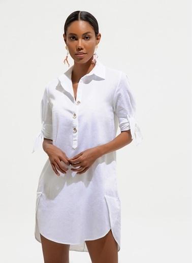 Loves You Kolu Bağlamalı Yarım Düğmeli Keten Elbise Beyaz